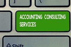 Знак текста показывая консультативные службы бухгалтерии Финансовые отчеты схематической подготовки фото ofPeriodic стоковая фотография