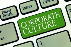 Знак текста показывая корпоративную культуру Схематические верования и идеи фото что компания имеет, который делят значения иллюстрация вектора