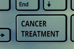 Знак текста показывая лечение рака Схематическая польза фото хирургии, радиации и лекарств вылечить рак стоковые фото