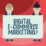 Знак текста показывая маркетинг коммерции цифров e Схематические приобретение фото и продажа мужчины товары и услуги онлайн бесплатная иллюстрация