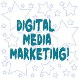 Знак текста показывая маркетинг средств массовой информации цифров Схематическая польза фото многочисленных цифровых тактик и кан бесплатная иллюстрация