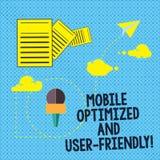 Знак текста показывая мобильный оптимизировать и дружественное Данные по интернет-обслуживаний схематической сети фото современно иллюстрация вектора