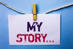 Знак текста показывая мой рассказ Схематическое портфолио профиля личной истории достижения жизнеописания фото написанное на бело стоковая фотография rf