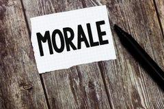 Знак текста показывая моральный дух Схематические восторг фото и дисциплина персоны или группы на определенном времени стоковые изображения