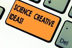 Знак текста показывая науке творческие идеи Схематический поступок фото поворачивая новых и с большим воображением идей в реально стоковые фото