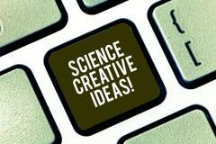 Знак текста показывая науке творческие идеи Схематический поступок фото поворачивая новых и с большим воображением идей в реально стоковое фото rf