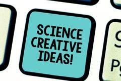 Знак текста показывая науке творческие идеи Схематический поступок фото поворачивая новых и с большим воображением идей в реально стоковые фотографии rf