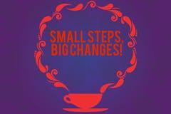 Знак текста показывая небольшим шагам большие изменения Схематическое фото делает маленькие вещи для выполнения больших целей чаш бесплатная иллюстрация