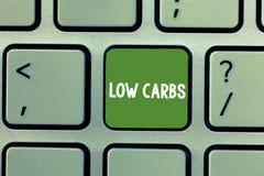 Знак текста показывая низкие карбюраторы Схематическое фото ограничивает диету analysisagement потери веса потребления углевода стоковые изображения