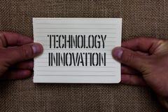 Знак текста показывая нововведение технологии Схематическое фото выдвинуло приборы соединенные сетью творческий человек метода де стоковые изображения