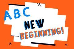 Знак текста показывая новое начало Карьера или работа схематического фото различная начиная снова запуск возобновляют бесплатная иллюстрация