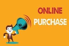 Знак текста показывая онлайн приобретение Схематическое фото покупает товары электронной коммерции от над интернета иллюстрация штока