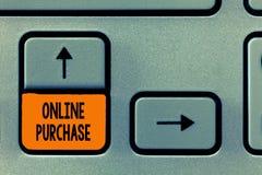 Знак текста показывая онлайн приобретение Схематическое фото покупает товары электронной коммерции от над интернета стоковая фотография rf