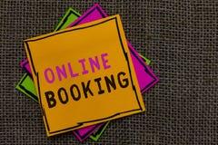 Знак текста показывая онлайн резервирование Схематическое ресервирование фото через бумагу билета на самолет проживания в гостини стоковое изображение rf