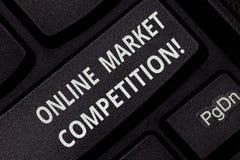 Знак текста показывая онлайн рыночную конкуренцию Схематическое соперничество фото между компаниями продавая такую же клавишу на  бесплатная иллюстрация