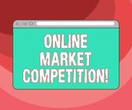Знак текста показывая онлайн рыночную конкуренцию Схематическое соперничество фото между компаниями продавая такой же экран монит иллюстрация штока