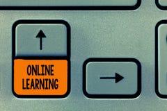 Знак текста показывая онлайн учить Схематическое фото Larning с помощью интернета и компьютера стоковое фото rf