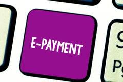 Знак текста показывая оплату e Схематический путь фото оплачивать для обслуживаний товаров электронно вместо клавиатуры наличных  стоковые изображения