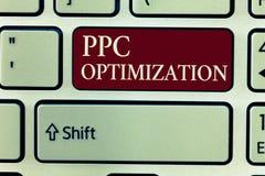 Знак текста показывая оптимизирование Ppc Схематическое повышение фото платформы поисковой системы для оплаты в щелчок стоковые фото