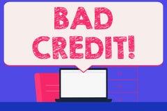 Знак текста показывая плохой кредит Помощь схематического фото предлагая после идти для займа после этого получая отвергнутый про иллюстрация штока