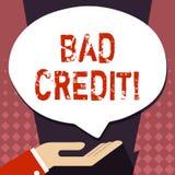 Знак текста показывая плохой кредит Помощь схематического фото предлагая после идти для займа после этого получая отвергнутую лад бесплатная иллюстрация