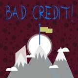 Знак текста показывая плохой кредит Помощь схематического фото предлагая после идти для займа после этого получая отвергнула 3 вы иллюстрация штока