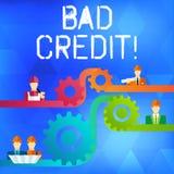 Знак текста показывая плохой кредит Помощь схематического фото предлагая после идти для займа после этого получая отвергнутую уст бесплатная иллюстрация