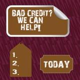 Знак текста показывая плохой кредит спрашивает нас может помочь Помощь схематического фото предлагая после идти для займа после э иллюстрация штока