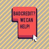 Знак текста показывая плохой кредит спрашивает нас может помочь Помощь схематического фото предлагая после идти для займа после э бесплатная иллюстрация