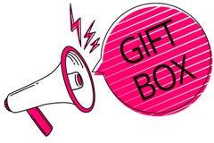 Знак текста показывая подарочную коробку Схематическое cointainer фото a малое с дизайнами способными регулировать представляет г иллюстрация штока