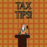 Знак текста показывая подсказки налога Вклад схематического фото принудительный для того чтобы заявить доход собиратый налоги ком иллюстрация вектора