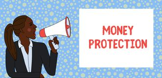 Знак текста показывая предохранение от денег Схематическое фото защищает арендного нанимателя денег оплачивает к молодой женщине  стоковые фотографии rf