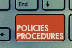 Знак текста показывая процедуры по политик Схематический майор решения влияния фото и директивы правил действий стоковая фотография