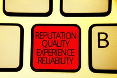 Знак текста показывая репутации качественную надежность опыта Ключ красного цвета клавиатуры обслуживания схематического удовлетв стоковое изображение rf