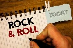 Знак текста показывая рок-н-ролл Тип жанра схематических фото музыкальный удара SoundMan популярной танцевальной музыки тяжелого  Стоковое фото RF