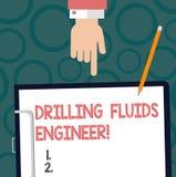 Знак текста показывая сверля инженера жидкостей Схематическое фото a демонстрируя в обязанности для испытывать грязь на снаряжени иллюстрация вектора