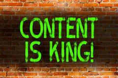 Знак текста показывая содержание король Схематический маркетинг фото сфокусировал растя видимость не оплатил кирпич результатов п иллюстрация штока