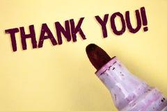 Знак текста показывая спасибо мотивационный звонок Схематическая признательность подтверждения приветствию благодарности фото нап стоковые фото