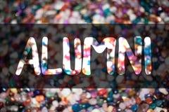 Знак текста показывая учеников Конфеты торжества академии коллежа схематических квасцов фото старые постдипломные аспирантские со стоковая фотография rf