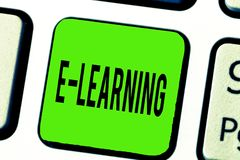 Знак текста показывая учить e Схематические уроки фото проведенные через электронные средства массовой информации типично в Интер стоковая фотография rf