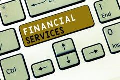 Знак текста показывая финансовые обслуживания Схематические деньги фото и брокерства запасов lending снятия в аренду вклада стоковые изображения