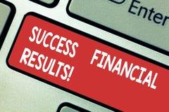 Знак текста показывая финансовые результаты успеха Схематическое количество фото выгоды компания делает во время клавиши на клави иллюстрация штока