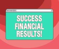 Знак текста показывая финансовые результаты успеха Схематическое количество фото выгоды компания делает во время экрана монитора  иллюстрация вектора