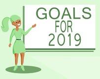Знак текста показывая цели на 2019 Схематическое фото следующие вещи вы хотите иметь и достигать в 2019 бесплатная иллюстрация