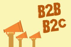 Знак текста показывая B2B B2C Схематические типы фото 2 для посылки электронных почт к другому учету внешнего вида людей вручают  Стоковые Изображения RF