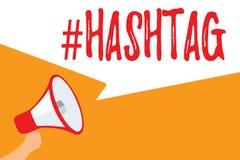 Знак текста показывая Hashtag Схематическая бирка интернета фото для социального мегафона стратегии поисковой системы связи средс иллюстрация вектора