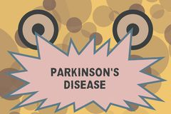 Знак текста показывая Parkinson s заболевание Схематический разлад нервной системы фото который влияет на движение иллюстрация штока