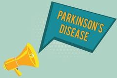 Знак текста показывая Parkinson s заболевание Схематический разлад нервной системы фото который влияет на движение бесплатная иллюстрация
