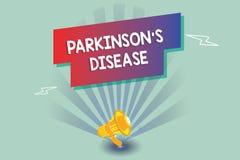 Знак текста показывая Parkinson s заболевание Схематический разлад нервной системы фото который влияет на движение иллюстрация вектора