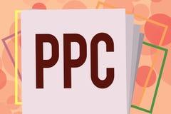 Знак текста показывая Ppc Схематические рекламодателя фото оплачивают гонорар каждый раз одно из их объявлений щелкнутый маркетин иллюстрация вектора
